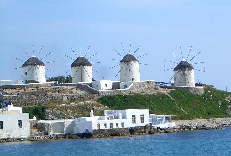 Mykonos_Myconos_Island_Greece_The_Windmills Mykonos Santorini Athens
