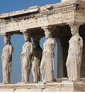Atenas Grecia Las Cariátides de La Acrópolis Atenas Mykonos Islas Griegas